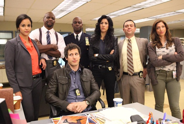 "BROOKLYN NINE-NINE: From Emmy Award-winning writer/producers of ""Parks and Recreation"" and starring Emmy Award winners Andy Samberg (third from L) and Andre Braugher (C), BROOKLYN NINE-NINE is a new single-camera workplace comedy about what happens when a hotshot detective (Samberg) gets a new Captain (Braugher) with a lot to prove. The new single-camera workplace comedy BROOKLYN NINE-NINE premieres this fall on FOX. Also pictured L-R: Melissa Fumero, Terry Crews, Stephanie Beatriz, Joe Lo Truglio and Chelsea Peretti. ©2013 Fox Broadcasting Co. Cr: Beth Dubber/FOX"