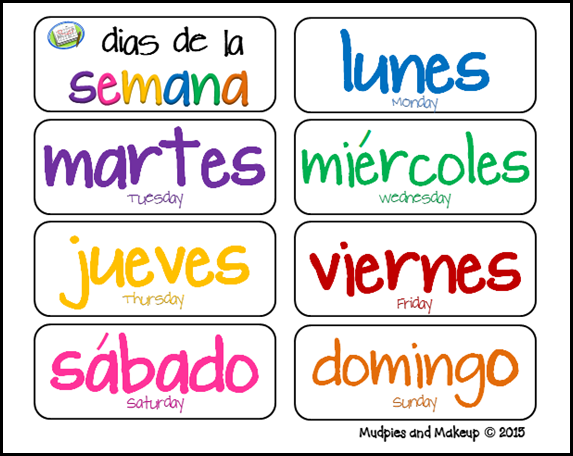 Mudpies and Makeup Spanish Circle Time Printables FREE – Days of the Week in Spanish Worksheet