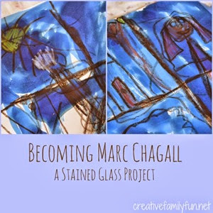 Marc Chagall Stained Glass Imitation