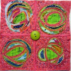 art quilt pink green