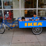 Christopher &amp; Christina in the IKEA delivery bicycle