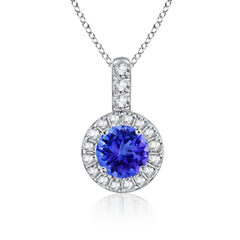 Round Tanzanite and Diamond Dangling Pendant
