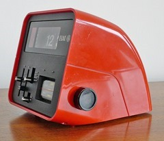 ELAC RD 100 flip clock radio in red, manufactured by Electroacustic GmbH, Germany