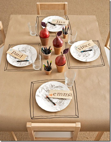 Thanksgiving kids table decorating and activity ideas--brown paper table covering with colors and markers
