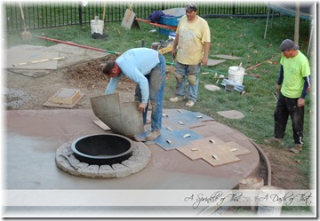 Stamped concrete patio stamping {A Sprinkle of This . . . . A Dash of That}