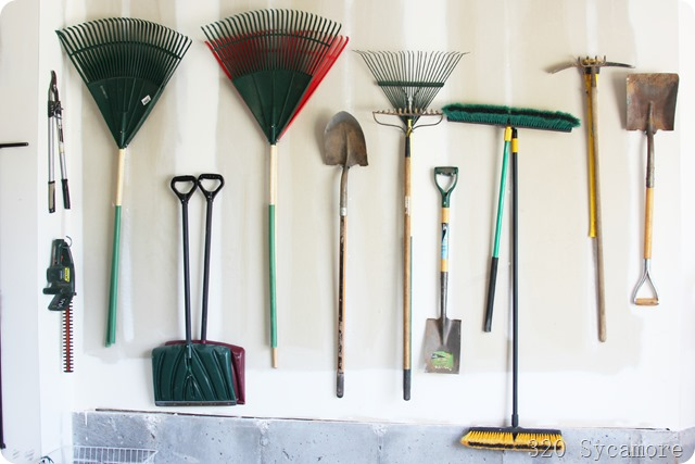yard tools in garage