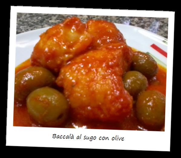 Fotografia del piatto baccalà al sugo e olive