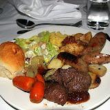 Crocodile Caesar Salad, Kangaroo, Sausages, Potato Salad, Roasted Carrots, And More...  Amazing Meal - Yulara, Australia