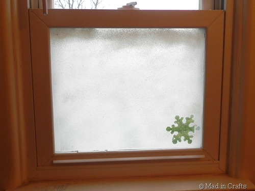 faux snow frosted window