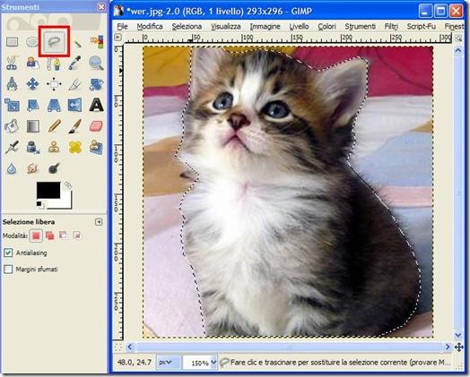 GIMP strumento selezione a mano libera per tracciare il soggetto della foto