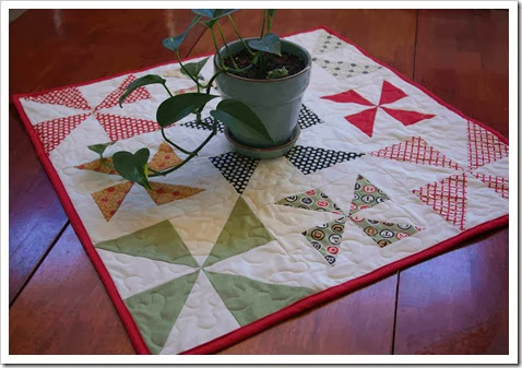 Finished Pretty Pinwheels Table Topper Quilt