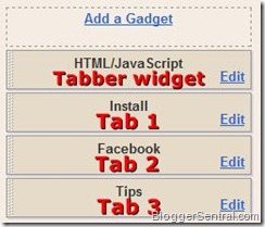 tabbed contents view elements