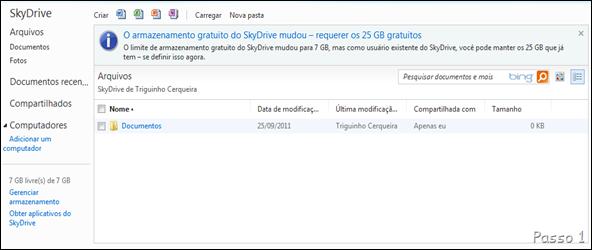 """Na tela inicial do Skydrive (site), clique em """"O armazenamento gratuito do Skydrive mudou – requerer os 25 GB gratuitos""""."""