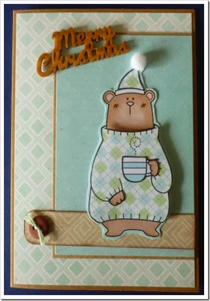 sleepy bear Christmas card