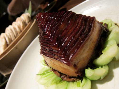 "Traditional style ""Dongpo"" pork served with chestnut pancakes"