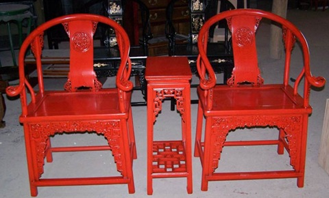 red lacquer Chinese horseshoe chairs and wine table
