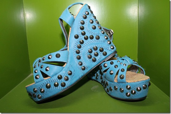 Rivet Embellished Blue Wedges