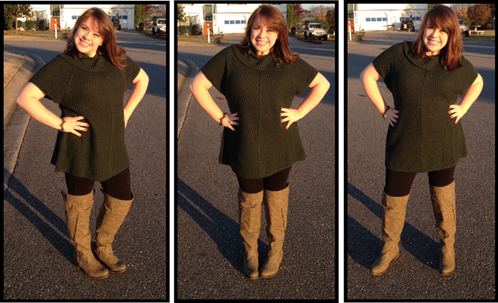 11.05 Tunic Sweater leggings boots brown and black torrid