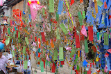 For the tanabata matsuri, people write their wishes on colored paper and hang them on the bamboo trees