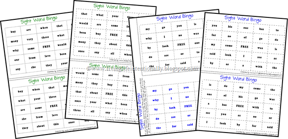 free} Common Sight Words BINGO