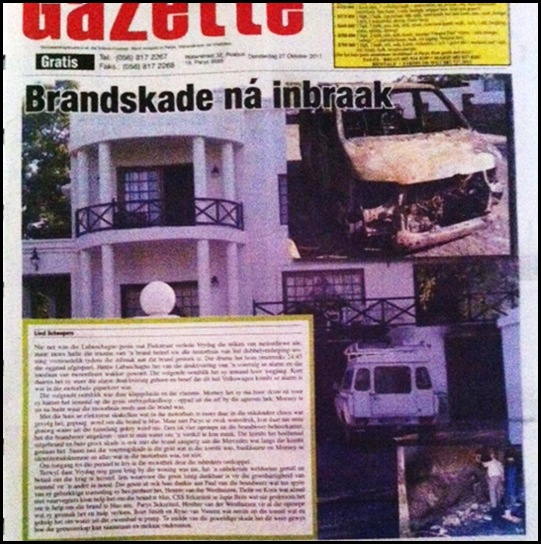 LABUSCHAGNE FAMILY FIRE AFTER BREAKIN FRONT PAGE
