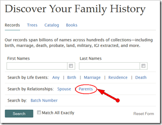 To perform a parent search, click the word Parents