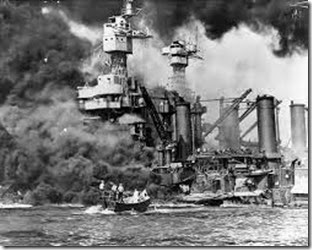 Pearl harbor ship aflame