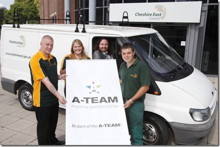 Ben Whitter in the van with apprentices l-r Kai Brereton, Nicola Hull and Daniel Band