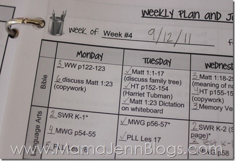 Weekly Homeschool Planner