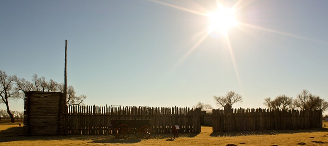The reconstructed stockade at Fort Supply is a replica of the original stockade built in 1868.