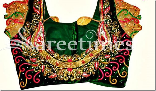 Green_Embroidery_Cap_Sleeves_Saree_Blouse