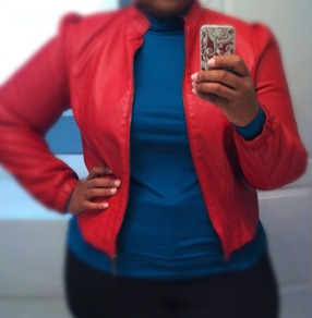 Ashley Stewart red jacket