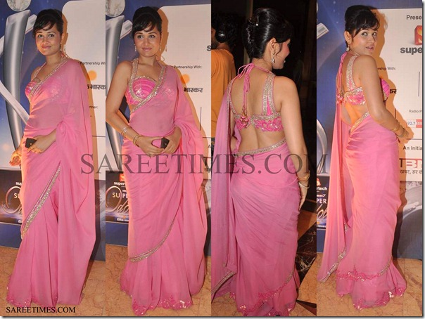 Nisha_Kothari_Pink_Saree