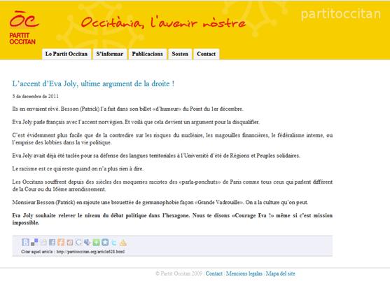 comunicat del Partit Occitan