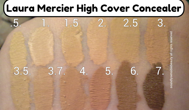 Laura Mercier High Coverage Concealer. (Full Cover Concealer)  Review & Swatches of Shades .5, 1, 1.5, 2, 2.5, 3, 3.5, 3.7, 4, 5, 6, 7,