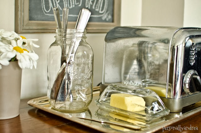 Organized Kitchen | toast station on a vintage tray, chalkboard art | personallyandrea.com