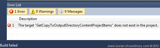 "The target ""GetCopyToOutputDirectoryContentProjectItems"" does not exist in the project"