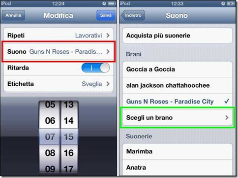 Usare una canzone come sveglia dell'iPhone, iPad, iPod touch