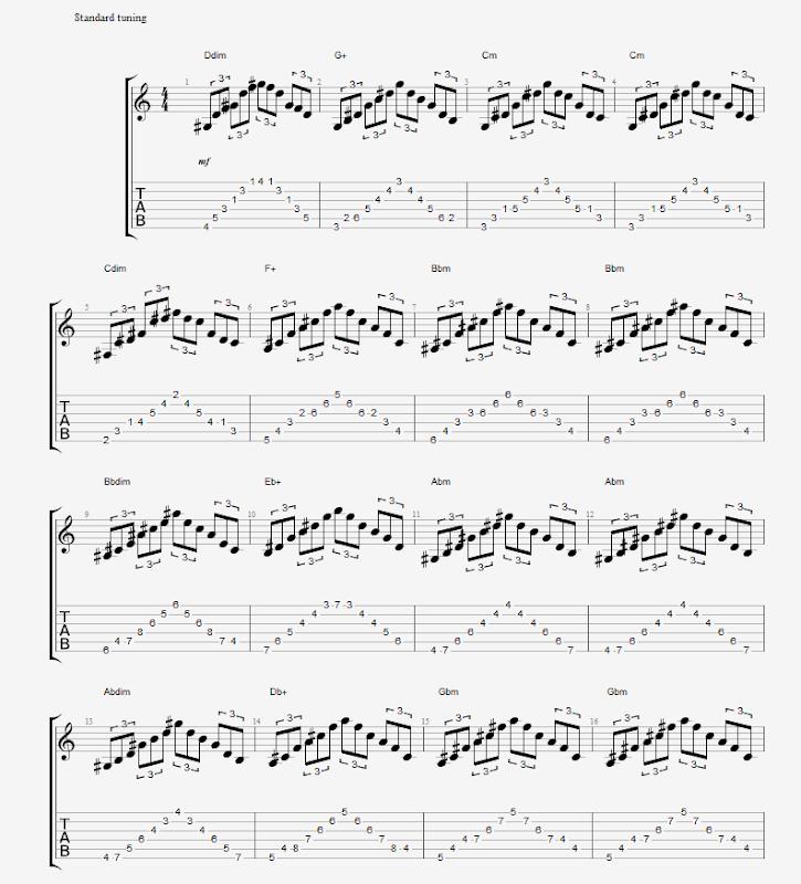 Frase Arpeggios triades diminutas, aumentadas e menores 1