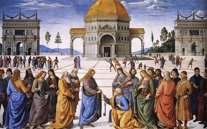 800px-Pietro_Perugino_-_Entrega_de_las_llaves_a_San_Pedro_(Capilla_Sixtina,_Roma,_1481-82)