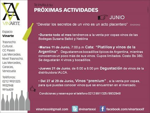 JUNIO 2013 Proximas Actividades VINARTE