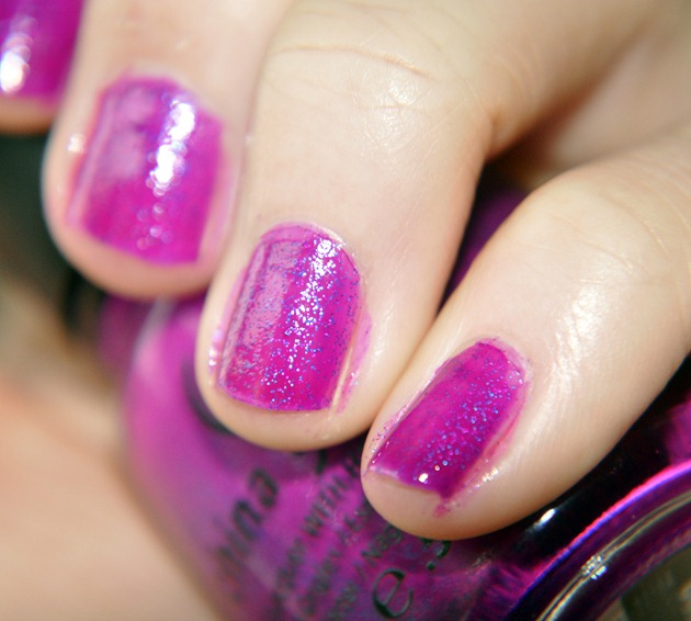 china glaze flying dragon neon nail polish notd purple glitter 2