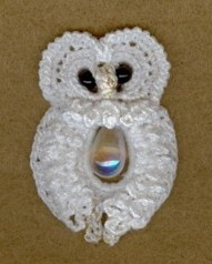 Celtic Owl. This little sweetie is made with #20 thread, 2 glass beads