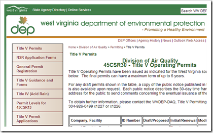 West Virginia Department of Environmental Protection Title V Permits