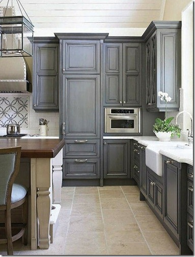 blue gray kitchen cabients via pnterest