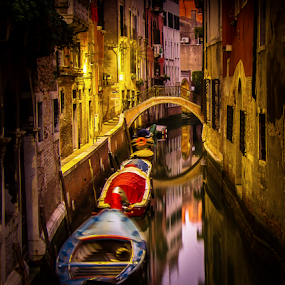 Night time on the Canal by Gary Beresford - City,  Street & Park  Street Scenes ( venice, reflections, bridge, boat, italy, canal )