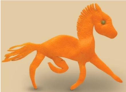 figurine din coji de mandarine