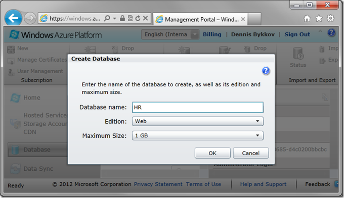 Database name of 'HR' on Create Database screen of Windows Azure Platform