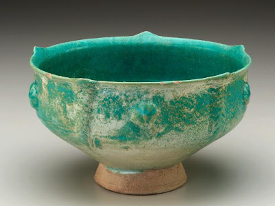 Bowl | Origin:  Iran | Period: 12th century | Details:  Not Available | Type: Stone-paste with glaze | Size: H: 12.2  W: 20.3   D: 20.3  cm | Museum Code: S1997.120 | Photograph and description taken from Freer and the Sackler (Smithsonian) Museums.