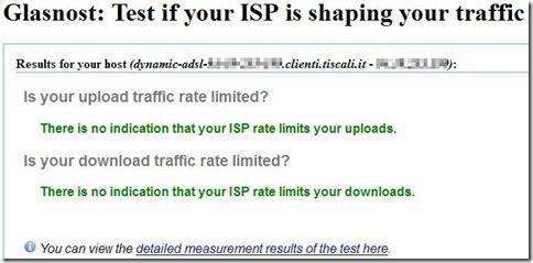 Glasnost risultato del test connessione internet